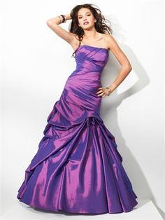 A-line strapless corset back ruffled purple taffeta purple prom dress PD10314