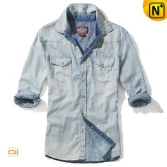www.cwmalls.com PayPal Available (Price: $79.89) Email:sales@cwmalls.com Mens Washed Fitted Long Sleeve Denim Shirts CW114220 Fashion acid wash denim shirt for men crafted from acid washed 100% cotton denim fabric, our designer fitted denim long sleeve shirts features with metal snap fastener and two flap breasted pockets.