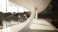 Amsterdam Iconic Pedestrian Bridge Proposal / PLUSRchitecture - IoannisKarrasArchitectureStudio,footbridge interior / © Theodoros Giannopoulos