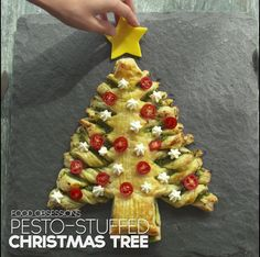 Best Holiday And Christmas Food Stories With Recipes - Party snacks - Pesto-Stuffed Christmas Tree - Christmas Tree Food, Christmas Snacks, Xmas Food, Christmas Cooking, Christmas Goodies, A Christmas Story, Holiday Treats, Holiday Recipes, Christmas Holidays