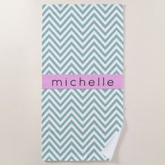 Your Name - Zigzag Chevron Pattern - Blue Pink Beach Towel - home gifts ideas decor special unique custom individual customized individualized