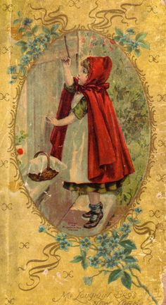 Vintage Illustrations Little Red Riding Hood.forget me not flower blue small vintage Vintage Pictures, Vintage Images, Vintage Art, Decoupage, Charles Perrault, Retro Poster, Vintage Fairies, Red Hood, Red Riding Hood