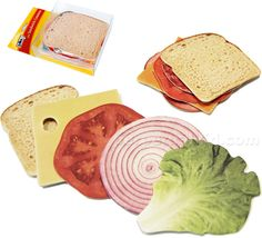 SANDWICH COASTERS    What goes better with a cocktail than a sandwich?  Or in this case, our Sandwich Coasters!  Salami, ham, lettuce, tomato, you name it, it'll keep your table ring free!  Each set comes with 9 coasters that create a Dagwood of a sandwich! Condiments not included. WARNING: Coasters can not be held accountable for uncontrollable sandwich cravings
