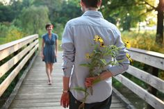 Cute capture. I think for a guy to spontaneously bestow a handpicked wildflower to his lady is sweet and romantic.