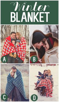 We might do this for our family photo this winter. Great  winter blanket ideas, They would make fabulous Christmas cards!