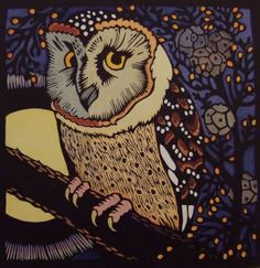 Hand coloured Linocuts by Kit Hiller