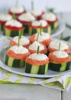 Cucumber Salmon Canapes | Cucumber salmon canapes are a classic.  This no-cook appetizer tops slices of crisp cucumber with smoked salmon and whipped cream cheese. @africanbites