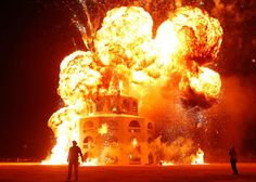 A giant temple installation burns down, signalling an end to the Burning Man 2012 Fertility 2.0 arts and music festival in the Black Rock Desert of Nevada  Picture: REUTERS/Jim Urquhart