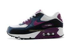 Officiel Nike Air Max 90 SJX Chaussures Nike Sportswear Pas Cher Pour Femme Bleu - Noir - Blanc - Violet