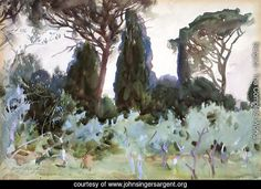The Athenaeum - Landscape near Frascati (John Singer Sargent - ) 1907 Watercolor Landscape, Landscape Paintings, Painting & Drawing, Watercolor Paintings, Watercolours, Watercolor Paper, Florence, John Singer Sargent Watercolors, Beaux Arts Paris