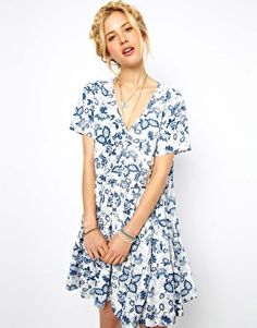 ASOS Smock Dress In China Print