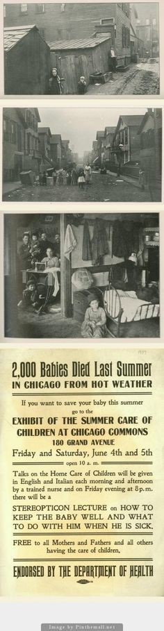 IMMIGRANT NEIGHBORHOOD: The Hunter tenement near the Chicago Stockyards, c. 1900. | Bottom:  a warning and preventive meeting from the Chicago Commons social welfare group. The lecture in Italian and English. - created via http://pinthemall.net