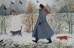thegiftsoflife:  Another Walk in the Snow by Dee Nickerson 16x24cm acrylic on paper/board