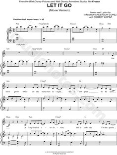 Sheet Music for Frozen's 'Let it go'