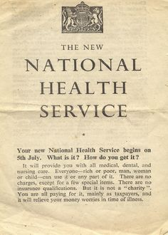 """Public leaflet for the NHS: The New National Health Service Production date: 2/1948 This public information leaflet advises on the new concept of a national health service for Britain. It was distributed by the Central Office of Information in 1948.""....We should all read this from time to time, and remember how precious our National Health Service is in the UK."