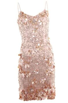 Theia Couture - Pale Pink Beaded Cocktail Slip Dress