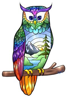 Owl Stained Glass by SisuKalat