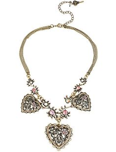 "Betsey Johnson Jewelry VINTAGE PINK HEART FRONTAL NECKLACEHave heart.  Gold tone necklace chain with frontal heart design with crystal and bow accents.  Crafted in a bass OX mixed metal.   Gold tone necklace chains Frontal hearts with bows and crystal accents Lobster claw Curb Brass OX Metal/glass/plastic 16"" long + 3"" extender frontal drop 1.75""Fun! Superfun Classy! Fantastic Statement comes with Bellabacci Gift Box and Black Suede pouch VINTAGE  Collection Limited Edition…"