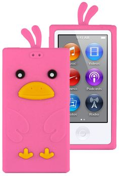 HHI Silicone Skin Case for iPod Nano 7th Generation - Hot Pink Funky Duck