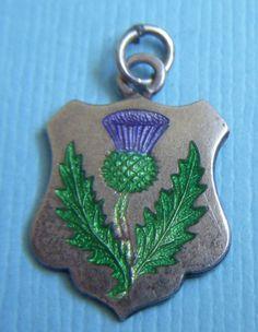 Vintage enamel thistle Scotland sterling charm