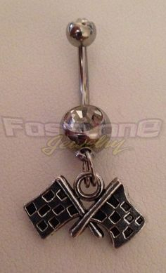 Double Silver-Tone Checkered Flag Charm Belly Button Ring- Racing Jewelry by Fastlane Jewelry