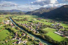 Aerial view of the village of Loke pri Mozirju, Slovenia