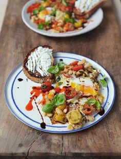 Baked eggs in popped beans, cherry tomatoes, and ricotta on toast   Everyday Super Food by Jamie Oliver