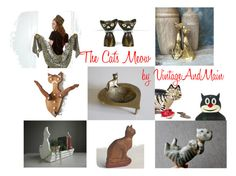 """""""The Cat's Meow"""" by alegriacollection ❤ liked on Polyvore featuring interior, interiors, interior design, home, home decor, interior decorating, vintage and VintageAndMain"""