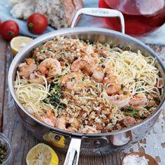 Lemony shrimp pasta