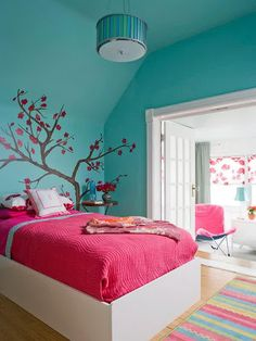 Bedroom, Colorful Teenage Bedroom Ideas For Girls With Blue Wall Pink Blanket And Bed Colorful Carpet And The Picture Theme About Teenage Girl Room Colors With Some Color Painting Wall That So Cute With Some Accessories And Furniture ~ Some Ideas Pictures For Teenage Girl Room Colors With Bright Color That So Cute