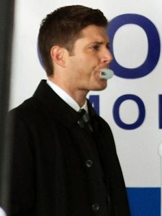 Just found this adorable candid of Jensen on set. This man looks good popping bubble gum♡ #Jensen #SPN