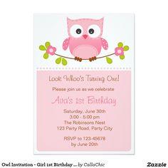 "Owl Invitation - Girl 1st Birthday / Baby Shower 5"" X 7"" Invitation Card"