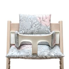Blausberg Baby - Cushion Set (coated) for Stokke Tripp Trapp Highchair - Cherry Blossom Grey Pink Bird Steel Dining Chairs, Patio Chairs, Upholstered Dining Chairs, Baby Set, Chair Pads, Chair Cushions, Bedroom Reading Chair, Burlap Chair, Chippendale Chairs