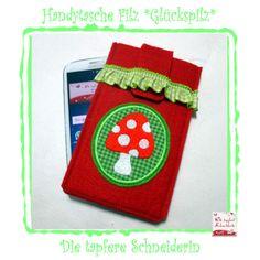 Handytasche Filz *Glückspilz* von Die tapfere Schneiderin, handmade with love ... by Viola auf DaWanda.com