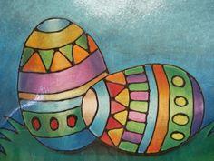 Pasen: Eieren met lijm en pastelkrijt (Chalk Pastel Glue Line Eggs)