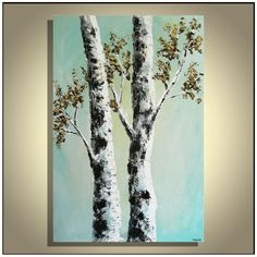 Original Modern Blue White Birch Trees Acrylic Abstract Landscape Painting on Canvas 36'' x 24'' on Etsy, $265.00