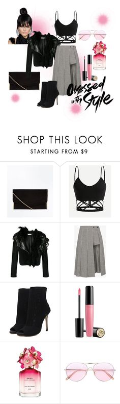 """Plaid"" by prats2018 ❤ liked on Polyvore featuring Lanvin, Sandy Liang, Lancôme, Marc Jacobs, Oliver Peoples, croptop, plaid, polyvorecontest and skirtsaremythang"