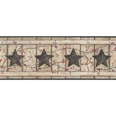 "Found it at Wayfair - Country Keepsakes Country Cutout Star 15' x 9"" Wood Border Wallpaper"