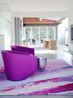 HOME, HOME DECOR, INTERIORS, PHOTO OF THE DAY, PURPLE, RUGS, WHITE SPACES, VIOLET, ACCENT CHAIRS