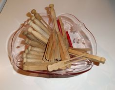 28 Vintage 1940's Wooden Clothespins