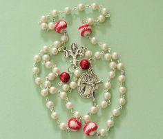 Baseball Rosary *softball,Catholic,Christian,St Sebastian,athlete rosary,coach gift,sports,chaplet,prayer,crucifix,summer finds by #TripleTwisting on Etsy
