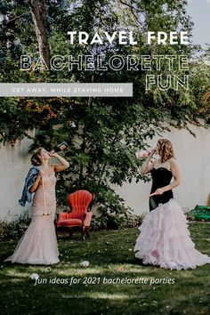 Host a travel free bachelorette party for the bride in your life. Lots of fun ideas for a stay at home fun event for 2021. Fancy Gowns, Fun Events, Bridal Showers, Orange, Guys And Girls, Fun Ideas, Fashion Inspiration, Bridesmaid, Creative