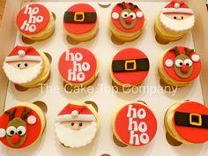 Edible Handmade Fondant Father Christmas Cupcake Toppers 3 of