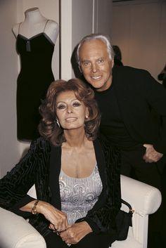 #Atribute to Friends: Giorgio Armani with Sophia Loren. To see more of Mr. Armani's friends, visit Armani.com/Atribute