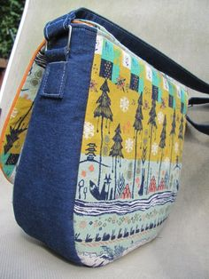 Amy Buller made the Swoon Sandra Saddle Bag in Tokyo Train Ride & Denim - Awesome!!