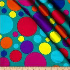 Charmeuse Satin Large Polka Dots Teal/Multi