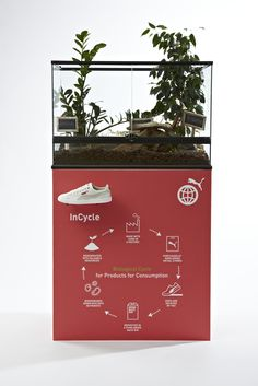 "PUMA InCycle Terrarium Display: The PUMA Incycle Collection is a range of shoes, apparel and accessories, which are biodegradable or recyclable under the PUMA ""Bring Me Back"" program. The Incycle Collection includes the sneaker (biodegradable), the track jacket (recyclable), t-shirts (biodegradable) and a backpack (recyclable). Photo: Torsten Hönig http://about.puma.com/puma-introduces-biodegradable-and-recyclable-products/"
