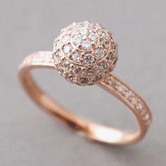 Oro Rosa pavimenta la sfera Silver Ring Sterling
