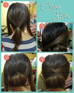 Cross bun, absurdly easy, cute ( could work for a ponytail too)