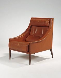 Gio Ponti; Beech and Leather 'Dezza' Chair for Poltrona Frau, 1948.